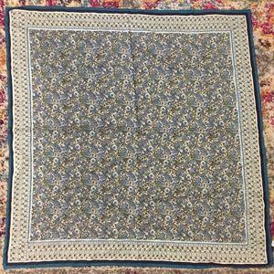 NWT Talbots Silk Square Scarf Green Teal Blue